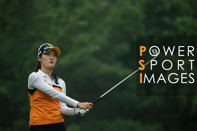 Ji Hyun Oh of South Korea tees off at the 5th hole during Round 4 of the World Ladies Championship 2016 on 13 March 2016 at Mission Hills Olazabal Golf Course in Dongguan, China. Photo by Victor Fraile / Power Sport Images