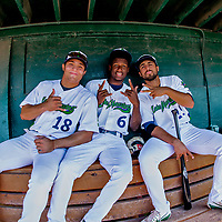 29 July 2018: Vermont Lake Monsters catcher Jose Rivas (left) infielder Marcos Brito (center) and first baseman Alfonso Rivas pose in the dugout prior to a game against the Batavia Muckdogs at Centennial Field in Burlington, Vermont. The Lake Monsters defeated the Muck Dogs 4-1 in NY Penn League action. Mandatory Credit: Ed Wolfstein Photo *** RAW (NEF) Image File Available ***