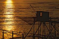 Europe/France/Poitou-Charentes/17/Charente-Maritime/Port-des-Barques: Carrelets au soleil couchant