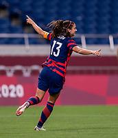 SAITAMA, JAPAN - JULY 24: Alex Morgan #13 of the USWNT celebrates her goal during a game between New Zealand and USWNT at Saitama Stadium on July 24, 2021 in Saitama, Japan.