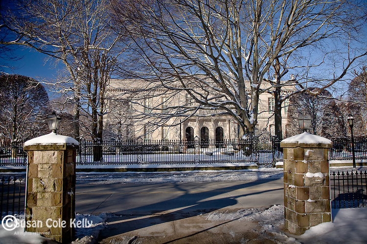The Elms mansion in winter, Newport, RI, USA