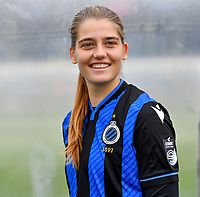 illustration picture showing the Scooore Super League Logo on the shirt of Brugge's Raquel Viaene during a female soccer game between Club Brugge Dames YLA and Zulte Waregem Ladies on the third matchday of the 2020 - 2021 season of Belgian Scooore Womens Super League , saturday 3 October 2020  in Brugge , Belgium . PHOTO SPORTPIX.BE | SPP | DAVID CATRY