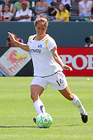 Stephanie Cox #14 of the Los Angeles Sol attacks the defense of FC Gold Pride during their match at Home Depot Center on April 19, 2009 in Carson, California.