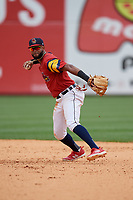 Toledo Mud Hens shortstop Willi Castro (5) throws to first base during an International League game against the Durham Bulls on July 16, 2019 at Fifth Third Field in Toledo, Ohio.  Durham defeated Toledo 7-1.  (Mike Janes/Four Seam Images)
