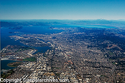 aerial overview photograph from San Leandro toward Oakland, Oakland airport, Alameda, California