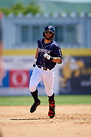Binghamton Rumble Ponies shortstop Levi Michael (3) rounds the bases after hitting a home run in the bottom of the sixth inning during a game against the Altoona Curve on June 14, 2018 at NYSEG Stadium in Binghamton, New York.  Altoona defeated Binghamton 9-2.  (Mike Janes/Four Seam Images)