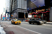 NEW YORK, NEW YORK - FEBRUARY 21: General view of the entrace at 42 St. Subway Station on February 21, 2021 in New York. A study found that subway air is polluted, exposing the people to high concentrations of hazardous metals and harmful pollutants.  (Photo by John Smith/VIEWpress via Getty Images)