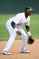 Oakland Athletics minor league infielder Yordy Cabrera #26 during an instructional league game against the Arizona Diamondbacks at the Papago Park Baseball Complex on October 11, 2012 in Phoenix, Arizona. (Mike Janes/Four Seam Images)