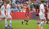 Houston, TX - Sunday April 8, 2018: Kiana Palacios of Mexico celebrates a goal during an International friendly match versus the women's National teams of the United States (USA) and Mexico (MEX) at BBVA Compass Stadium.