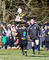 Saturday 17th February 2018 | RBAI vs Sullivan<br /> <br /> Jude Postlethwaite is taken out in the air during the Ulster Schools' Cup Quarterfinal between RBAI and Sullivan at Cranmore Park, Belfast, Northern Ireland. Photo by John Dickson / DICKSONDIGITAL