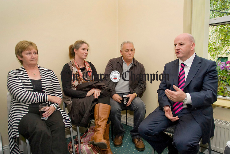 Sean Gallagher, independent presidential candidate, chats with Mary Crowe, Eilish Hatchett and Martin Tierney at the Clare Supported Employment Service on Harmony Row during his recent visit to Ennis. Photograph by Declan Monaghan