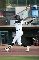 Edwin Yon (48) of the Inland Empire 66ers bats against the Lake Elsinore Storm at San Manuel Stadium on July 25, 2021 in San Bernardino, California. (Larry Goren/Four Seam Images)