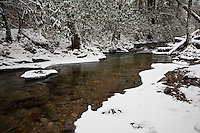 Snow blankets Rocky Fork Creek, Unicoi County