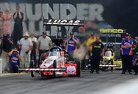 Jun. 19, 2011; Bristol, TN, USA: NHRA top fuel dragster driver Shawn Langdon during eliminations at the Thunder Valley Nationals at Bristol Dragway. Mandatory Credit: Mark J. Rebilas-