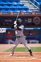 Jupiter Hammerheads Osiris Johnson (3) bats during a game against the St. Lucie Mets on May 5, 2021 at Clover Park in St. Lucie, Florida.  (Mike Janes/Four Seam Images)