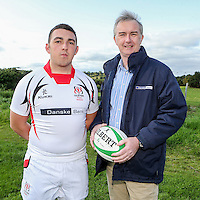 Ulster Schools U18 | Saturday 5th September 2015<br /> <br /> Ulster Schools U18 Squad 2015-2016<br /> Regent House player Kyle Van Giesen with Danske Bank representative Mark Beattie at a recent training session at Newforge Country Club in Belfast. Photo : John Dickson - DICKSONDIGITAL