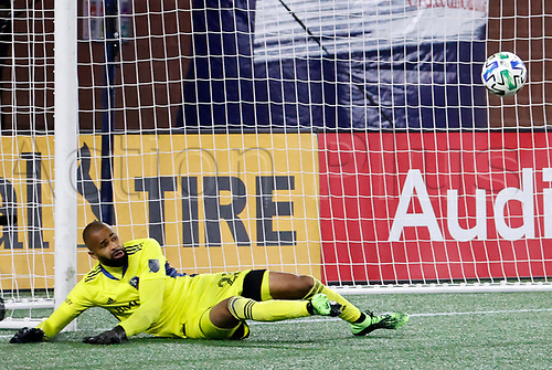 20th November 2020; Foxborough, MA, USA;  Montreal Impact goalkeeper Clement Diop (23) watches the ball rebound off the post during the MLS Cup Play-In game between the New England Revolution and the Montreal Impact