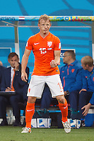 Dirk Kuyt of the Netherlands pulls a funny face