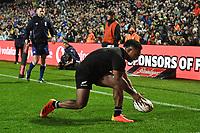 17th July 2021; Hamilton, New Zealand;  Sevu Reece scores a try for New Zealand. All Blacks versus Fiji, Steinlager Series, international rugby union test match. FMG Stadium Waikato, Hamilton, New Zealand.