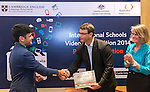 11 Feburary 2015, New Delhi, India: Australian High Commissioner to India Mr. Patrick Suckling and Angela French of Cambridge English presenting certificates and prizes to student winners from The British School , Delhi of the Digital Business section India International Video Competition run by Austrade in conjunction with Cambridge English and major sponsors Singapore Airlines presented at the Australian High Commission, New Delhi.  Picture by Graham Crouch/Austrade