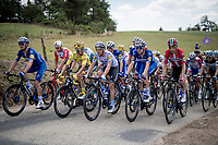 Team Deceuninck-Quickstep, with yellow jersey / GC leader Julian Alaphilippe (FRA/Deceuninck - Quick-Step) also on the front row, blocking the road up Mur d'Aurec-sur-Loire (3.2km at 10.8%) and allowing the breakaway group to go<br /> <br /> Stage 9: Saint-Étienne to Brioude(170km)<br /> 106th Tour de France 2019 (2.UWT)<br /> <br /> ©kramon
