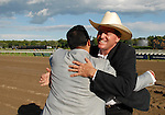 16 August 2008: Trainer Larry Jones  celebrates Proud Spell's win in Grade 1 Alabama Stakes at Saratoga Race Course in Saratoga Springs, New York.  Proud Spell turned the tables on 2-5 favorite Music Note to win the 128th running of the race.