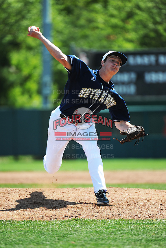 University of Notre Dame Fighting Irish pitcher David Hearne (11) during game against the St. John's University Redstorm at Jack Kaiser Stadium on May 12, 2013 in Queens, New York. St. John's defeated Notre Dame 2-1.      . (Tomasso DeRosa/ Four Seam Images)