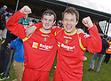 Albion Rovers goal scorers Robert Love (left) and Scott Chaplain (right) celebrate winning the Second Division Play Offs after beating Stranraer on penalties .... ....