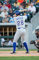 Richie Shaffer (28) of the Durham Bulls at bat against the Charlotte Knights at BB&T BallPark on July 22, 2015 in Charlotte, North Carolina.  The Knights defeated the Bulls 6-4.  (Brian Westerholt/Four Seam Images)
