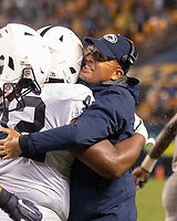 Penn State head coach James Franklin hugs defensive lineman Ellison Jordan after a safety. The Penn State Nittany Lions defeated the Pitt Panthers 51-6 on September 08, 2018 at Heinz Field in Pittsburgh, Pennsylvania.