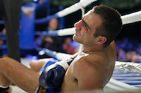 Moscow, Russia, 05/06/2010..Ricardo Fernandes falls to the canvas in a world championship kickboxing bout against Batu Khasikov during the new Fight Nights boxing tournament.
