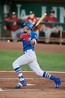 Romer Cuadrado (17) of the Ogden Raptors bats against the Idaho Falls Chukars at Lindquist Field on August 28, 2017 in Ogden, Utah. Ogden defeated Idaho Falls 7-1. (Stephen Smith/Four Seam Images)