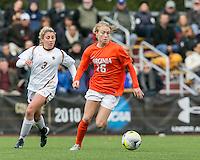 Newton, Massachusetts - October 18, 2015: NCAA Division I. University of Virginia (orange/white) defeated Boston College (white), 4-2, at Newton Campus Soccer Field.