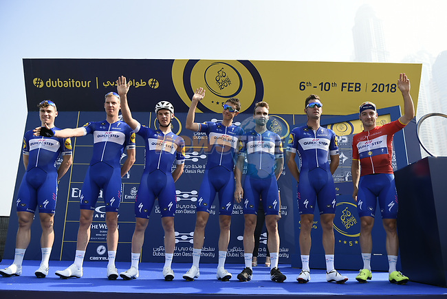 Quick-Step Floors team at sign on before the start of Stage 3 The Silicon Oasis Stage of the Dubai Tour 2018 the Dubai Tour's 5th edition, running 180km from Skydive Dubai to Fujairah, Dubai, United Arab Emirates. 7th February 2018.<br /> Picture: LaPresse/Fabio Ferrari | Cyclefile<br /> <br /> <br /> All photos usage must carry mandatory copyright credit (© Cyclefile | LaPresse/Fabio Ferrari)
