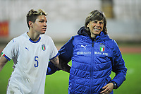 20190301 - LARNACA , CYPRUS : Italian defender Elena Linari (left) Italian head coach Milena Bertolini (right) pictured during a women's soccer game between Hungary and Italy , on Friday 1 March 2019 at the GSZ Stadium in Larnaca , Cyprus . This is the second game in group B for both teams during the Cyprus Womens Cup 2019 , a prestigious women soccer tournament as a preparation on the FIFA Women's World Cup 2019 in France . PHOTO SPORTPIX.BE | STIJN AUDOOREN
