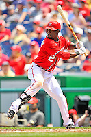 29 May 2011: Washington Nationals outfielder Roger Bernadina in action against the San Diego Padres at Nationals Park in Washington, District of Columbia. The Padres defeated the Nationals 5-4 to take the rubber match of their 3-game series. Mandatory Credit: Ed Wolfstein Photo