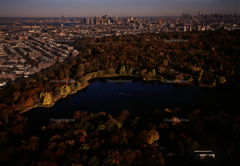 Aerial view of Propspect Park looking toward Manhattan.