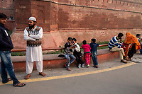 People gather outside the entrance of the Red Fort in Delhi, India, on Tue., Dec. 11, 2018.
