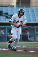 Dillon Dobson (15) of the San Jose Giants runs to first base during a game against the Lancaster JetHawks at The Hanger on April 10, 2017 in Lancaster, California. Lancaster defeated San Jose 11-7. (Larry Goren/Four Seam Images)