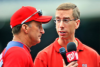 29 May 2011: Washington Nationals radio broadcaster Dave Jageler interviews manager Jim Riggleman prior to a game against the San Diego Padres at Nationals Park in Washington, District of Columbia. The Padres defeated the Nationals 5-4 to take the rubber match of their 3-game series. Mandatory Credit: Ed Wolfstein Photo