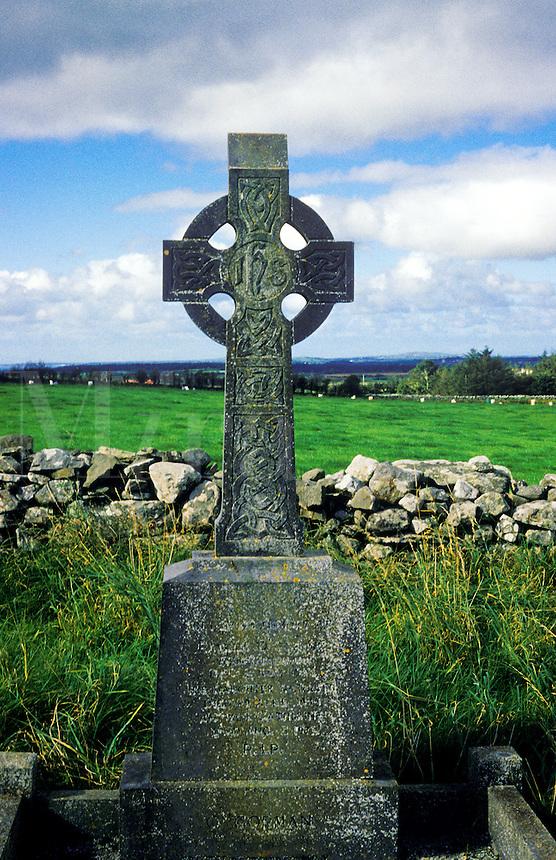 Celtic Irish cross memorial in cemetery, County Clare, Ireland