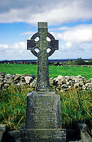 Celtic Irish cross memorial in cemetery, County Clare, Ireland