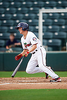 Fort Myers Miracle center fielder Tanner English (1) at bat during a game against the St. Lucie Mets on August 9, 2016 at Hammond Stadium in Fort Myers, Florida.  St. Lucie defeated Fort Myers 1-0.  (Mike Janes/Four Seam Images)
