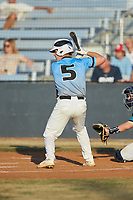 Kyle Brittain (5) (North Lincoln HS) of the Dry Pond Blue Sox at bat against the Mooresville Spinners at Moor Park on July 2, 2020 in Mooresville, NC.  The Spinners defeated the Blue Sox 9-4. (Brian Westerholt/Four Seam Images)