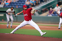 Starting pitcher Grant Gambrell (31) of the Hickory Crawdads in a game against the Greenville Drive on Friday, June 18, 2021, at Fluor Field at the West End in Greenville, South Carolina. (Tom Priddy/Four Seam Images)