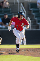 Michael Danner (2) of the Kannapolis Intimidators hustles down the first base line against the Asheville Tourists at Intimidators Stadium on June 28, 2015 in Kannapolis, North Carolina.  The Tourists defeated the Intimidators 6-4.  (Brian Westerholt/Four Seam Images)