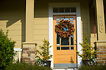 Yellow Door with Wreath