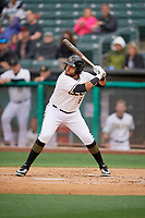 Jose Rojas (8) of the Salt Lake Bees bats against the Albuquerque Isotopes at Smith's Ballpark on April 24, 2019 in Salt Lake City, Utah. The Isotopes defeated the Bees 5-4. (Stephen Smith/Four Seam Images)