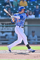 Tennessee Smokies left fielder Bijan Rademacher (24) swings at a pitch during a game against the Birmingham Barons on August 2, 2015 in Kodak, Tennessee. The Smokies defeated the Barons 5-2. (Tony Farlow/Four Seam Images)