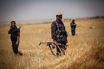 Irak, Juli 2014 - Kurdische Peschmerga Milizen sichern die Grenzen von Kirkuk, Karakosch und anderen Staedten vor den ISIS Terroristen. Eine Gruppe kurdischer Spezialeinheiten trifft sich auf einem Acker vor Kirkuk um Razzien in Doerfern durchzufuehren, in denen ISIS Milizen IEDs und Granaten versteckt haben.<br /> <br /> Engl.: Asia, Iraq, conflict area, Kurdish Peshmerga militias protecting the borders of Kirkuk, Karakosh and other cities, June 2014